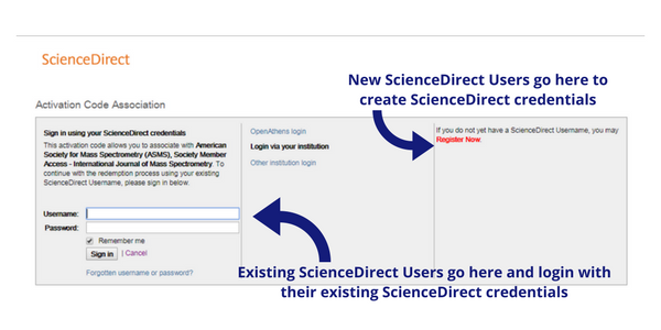Existing ScienceDirect Users go here